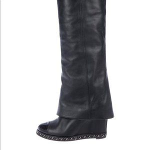 Chanel CC Chain Link Knee High Boots Leather 37